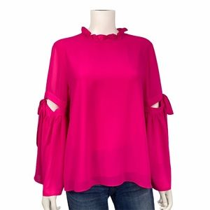 Aryeh NEW Hot Pink Bell Open Sleeve Top Size L